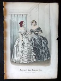 Journal des Demoiselles C1850 Antique Hand Col Fashion Print 92
